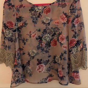 Taupe Sheer quarter length sleeve blouse